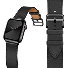 Najnowszy pasek ze skóry naturalnej do zegarka Apple Watch Series 5 4 40mm/44mm pasek do zegarka bransoletka Watchband do zegarka Apple Series 3 2