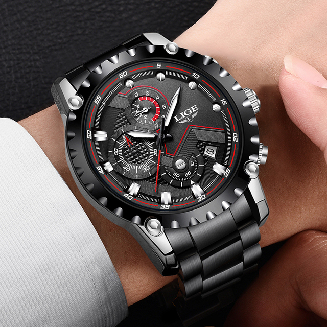 LIGE Waterproof Quartz Steel Army Military Watch 5