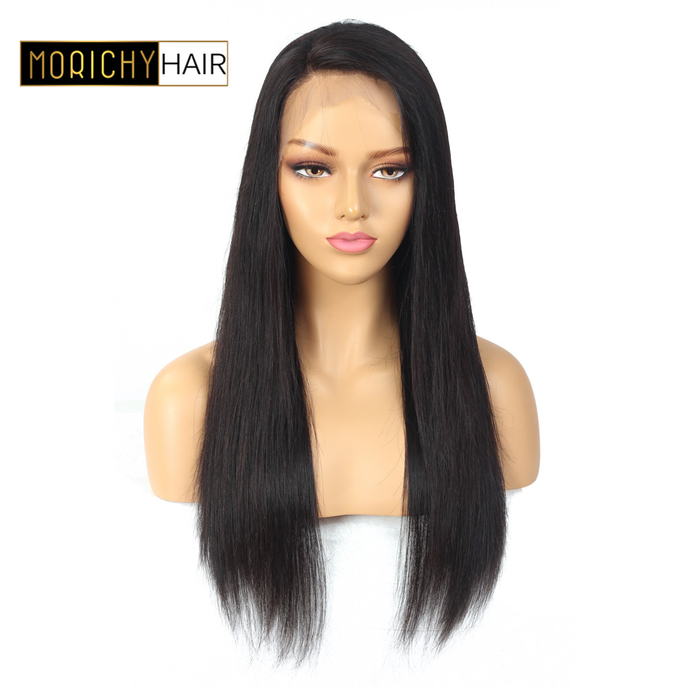 Morichy 13x4 Lace Front Human Hair Wig 150% Density Brazilian Straight Lace Frontal Wig Preplucked Natural Hairline Natural Hair