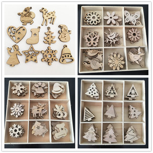 Image 1 - 50/100PCS New Year Natural Wood Christmas Decoration For Home Wooden Christmas Tree Ornament Hanging Pendants Gifts Elk Decora