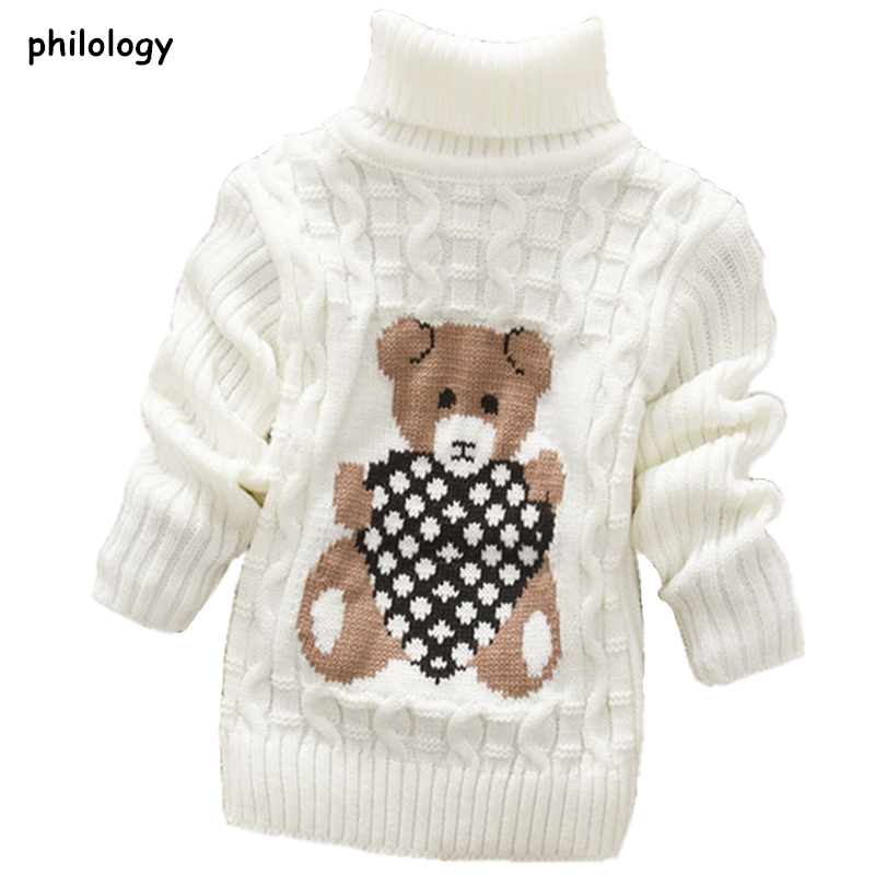 PHILOLOGY 2T-8T bear winter boy girl kid thick Knitted bottoming turtleneck shirts baby high collar pullover toddler sweater 1