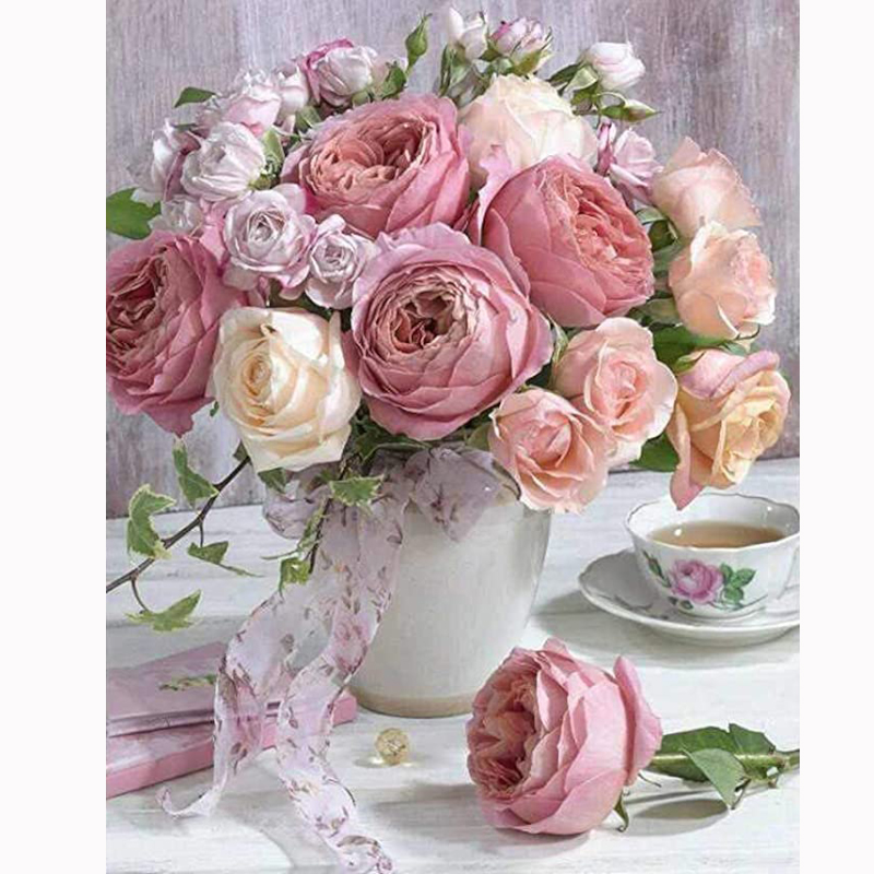 2020 NEW arrival Flower 5d diy diamond painting embroidery Pink rose diamond painting full round drill <font><b>coffeecup</b></font> decor for home image