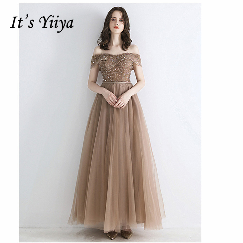 It's Yiiya Evening Dress 2019 Plus Size Boat Neck Off Shoulder A-Line Dresses Elegant Crystal Women Party Long Formal Gown E1052