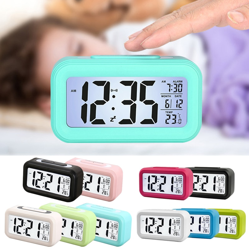 Alarm Clock LED Digital Alarm Clock Backlight Display with Temperature Calendar Snooze Function Clocks for Home Office Travel#9