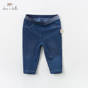 Image 1 - DB13617 dave bella baby girl  spring pants children full length denim blue kids solid pants infant toddler trousers