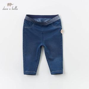 Image 1 - DB13617 dave bella baby mädchen frühling hosen kinder voller länge denim blau kinder feste hosen infant kleinkind hose