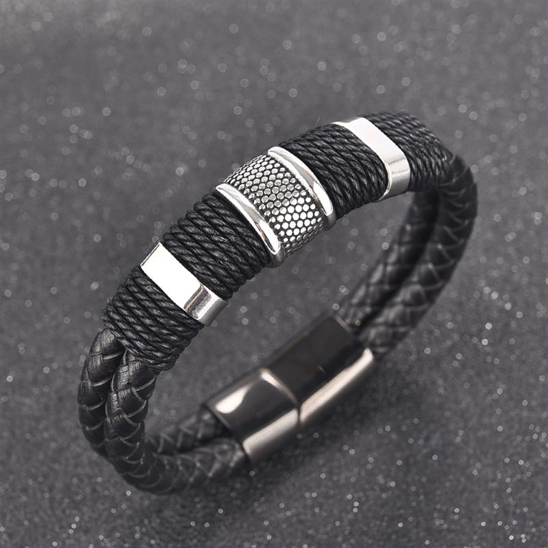 Genuine Leather Bracelet Men Stainless Steel Magnetic Clasp Handmade Man Charm Bangles Fashion Jewelry Factory Direct Selling