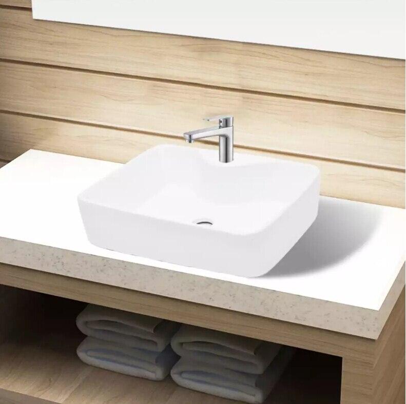 Lavabo de baño de cerámica, lavabo artístico de cerámica blanca, lavabo de baño cuadrado blanco en Stock en el extranjero-Francia envío gratis rápido