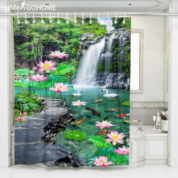 Waterfall Lotus Landscape Shower Curtain 3D American Shower Curtains Bath Screen Washable Waterproof Fabric Bathtub Curtain christmas balls waterproof fabric shower curtain