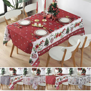 Tablecloth Christmas Washable Waterproof Rectangle Dining-Room Stain-Resistant for Best