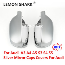LEMON SHARK Car Matt Chrome Mirror Covers Cap Rearview Silver Side Mirror Cover S Line B8.5 B 8.5 For Audi A3 A4 A5 2011-2016 lexucar matt chrome car rearview silver side mirror covers cap s line b8 5 b 8 5 for audi a3 a4 a5 2011 2016