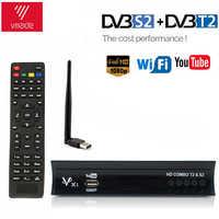 DVB-T2 DVB-S2 Receptor de televisión Digital gratis, Internet, Receptor satelital, buscador Combo IPTV m3u reproducción DVB T2 Receptor Wifi Youtube CLINES