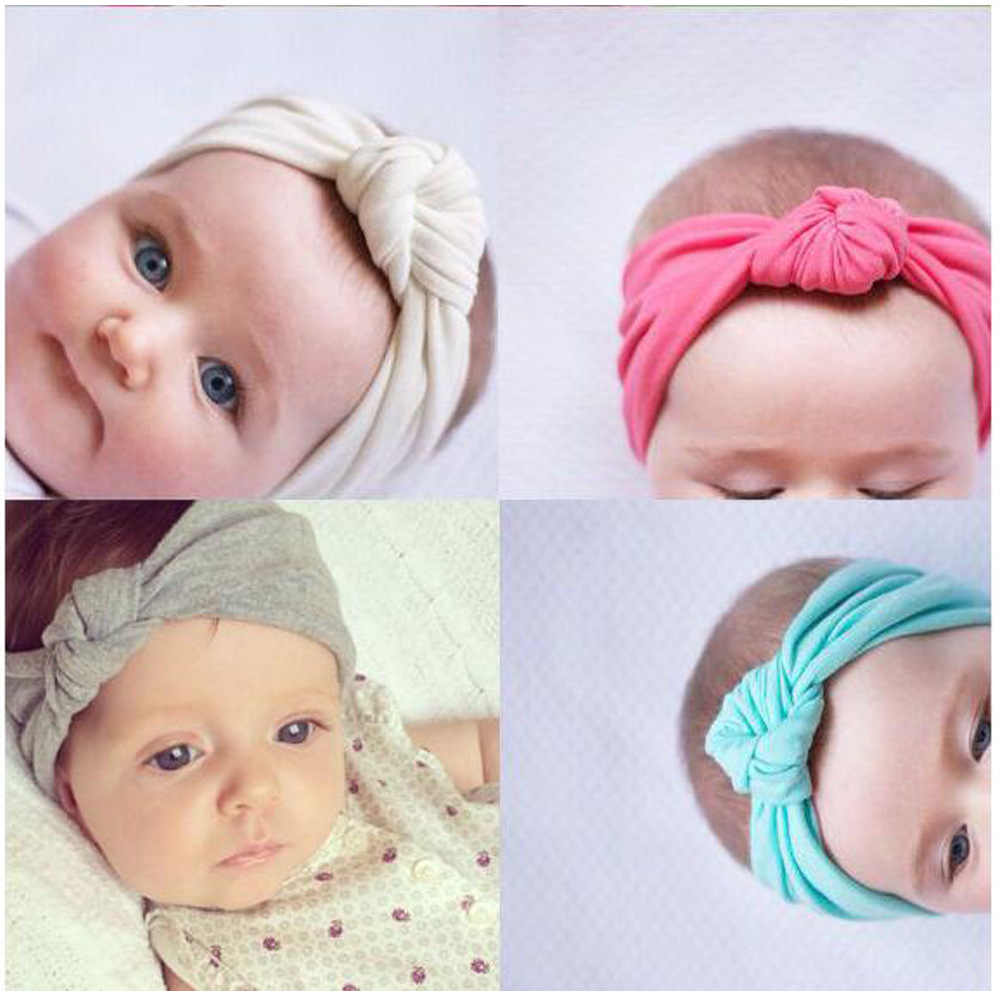 ילדים בגימור קשת מוצקים חמוד Hairbands טורבן קשר ילדים טורבנים Accessoire Faixa Cabelo Para Bebes סרט תינוקת