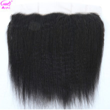 Kinky Straight Frontal Transparent Lace Frontal 13*4 Human Hair Closure Cheveux Humain Brazilian Remy Yaki Lace Frontal Ariel(China)