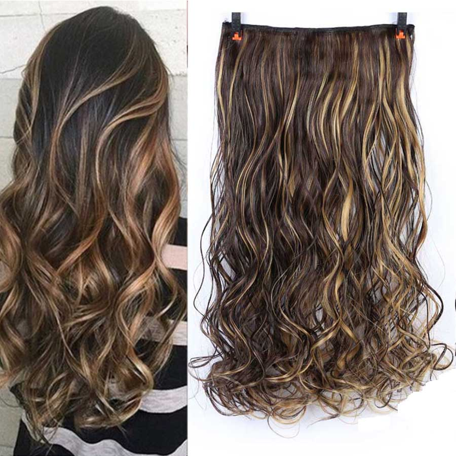 MUMUPI 24 Inches Fashion Women Ombre Curly Hair Extensions Clip In Hair Extensions Two Tone Hairpieces Synthetic Wig