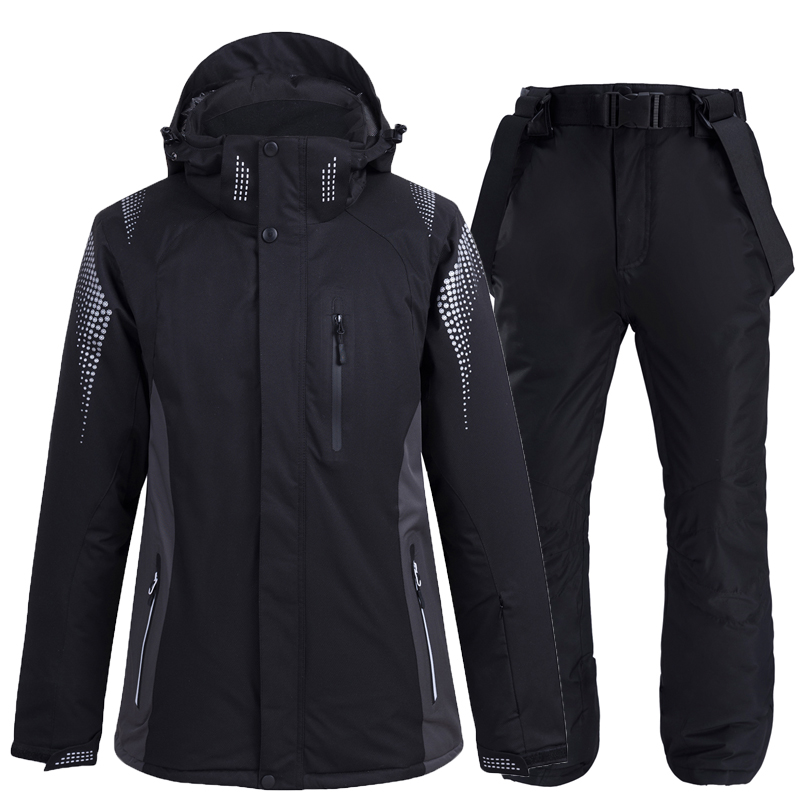 -30 Black Colors Mens And Womens Snow Wear Snowboarding Sets Waterproof Breathable Outdoor Sports Ski Jackets + Bibs Snow Pants