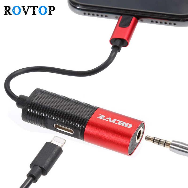 Adaptador de carga de auriculares 3,5 Jack 2 en 1 Adaptador de carga rápida para iPhone X XS Max XR 10 7 conector cambiador 8 Plus