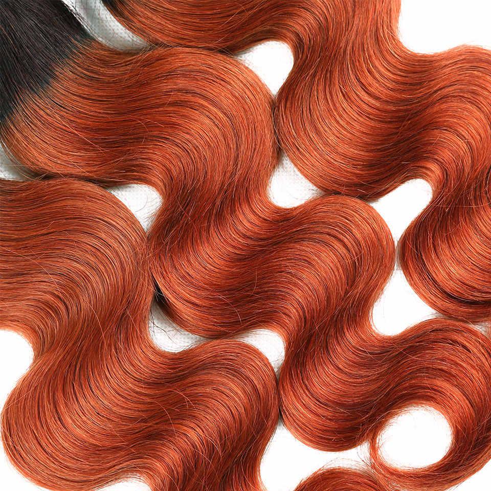 Paquets de cheveux Orange avec front 350 Ombre corps vague pré-colorés paquets avec fermeture 13*4 bébé cheveux brésilien Remy humain BP