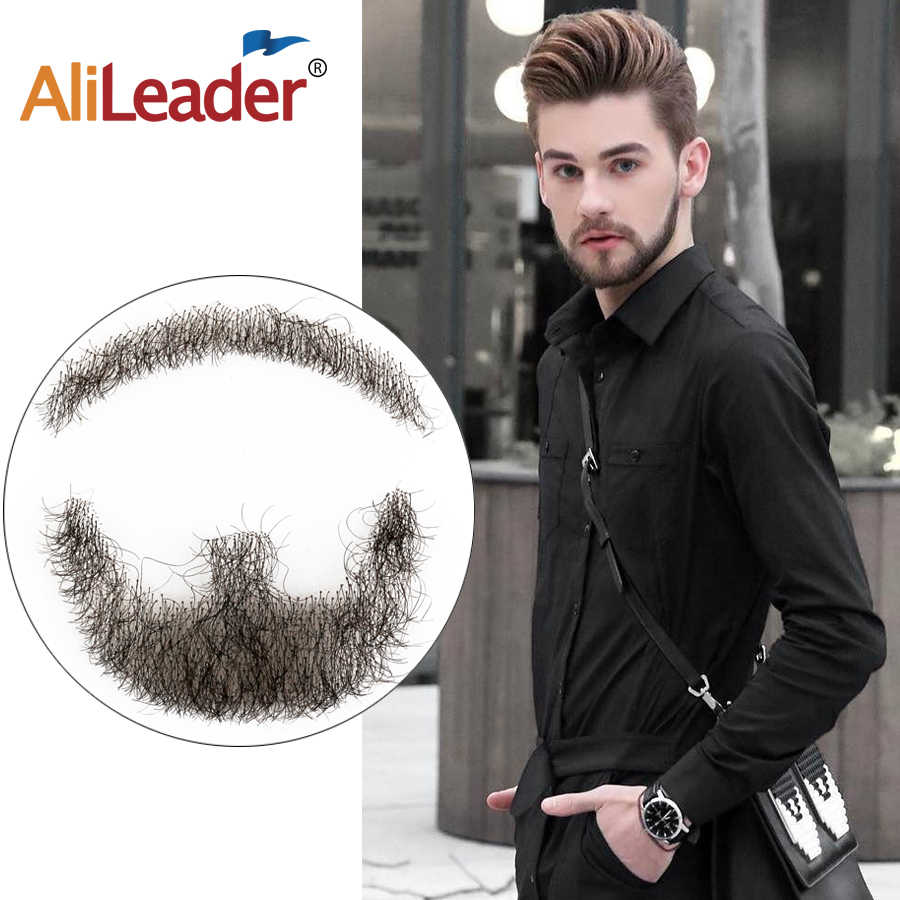 Alieader Invisible Lace Real Hair Beard And Mustache For Men Neat Beards For Party Black Lace Beard Mustache