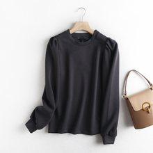 Tangada – sweat-shirt ample à manches longues et col rond pour femme, haut de haute qualité, gris, 6D37