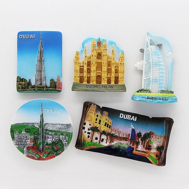 Dubai sailing Hotel souvenir 3D fridge magnets magnetic refrigerator paste home decoration Dubai architecture Collection Gifts 1