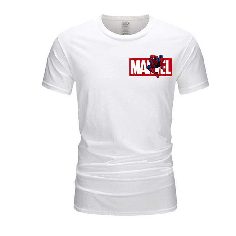 Мужская футболка с человеком-пауком Marvel, Мстители, Мужская футболка для фитнеса, брендовая футболка с коротким рукавом, Топы И Футболки, TX020