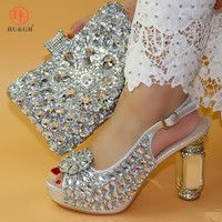 New Fashion Italian Shoe and Bag Set for Party Silver Color Luxury Shoes Women Designers Nigerian Women Wedding Pumps with Purse