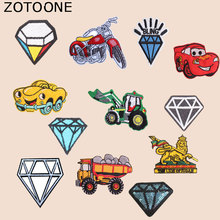ZOTOONE Diamond Patch Motorcycle Car Stickers for Kids Iron on Patches Clothing Heat Transfer Diy Accessory Appliques G