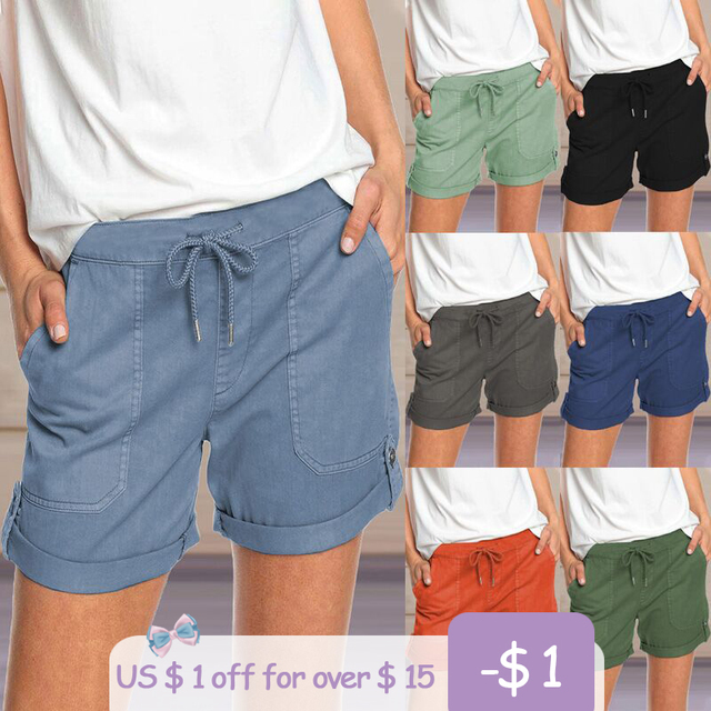 2021 Summer Women's Shorts Fashion High Waist Loose Solid Color Shorts Wide Legs Casual Female Lace-Up Short Plus Size 1