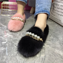 Furry Flats Espadrilles Moccasins Slip On Women Stylish Donna Chain Winter Pearl-Chains-Decor