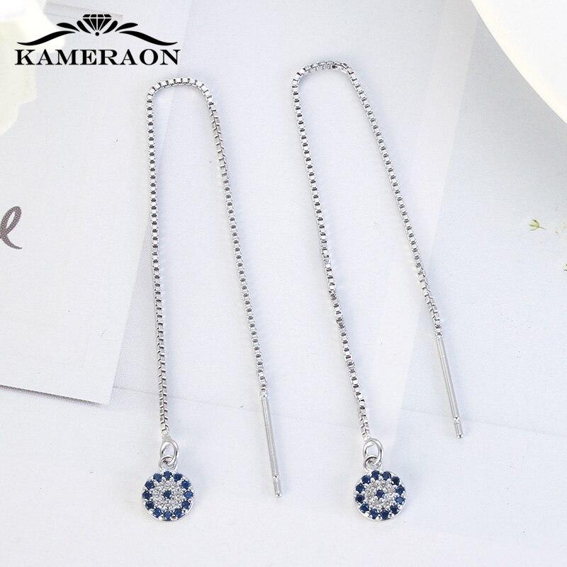 KAMERAON Long Chain Blue Evil Eyes Pendant Earrings 100% 925 Sterling Silver Cubic Zircon Tassel perforation Women Jewelry E0922