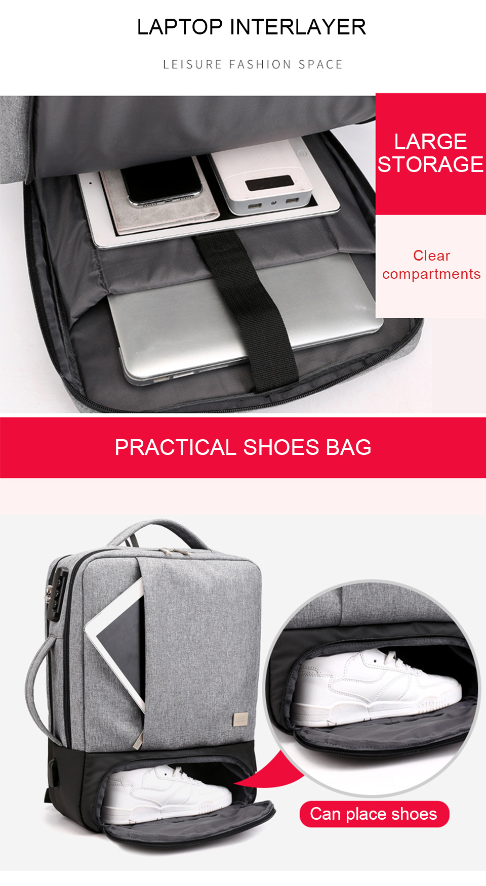 Mens Backpack Laptop Backpacks 17 Inch 15.6'' Anti Theft Male Business Bags Notebook Trip Back Pack Office Women Travel Bagpack (3)