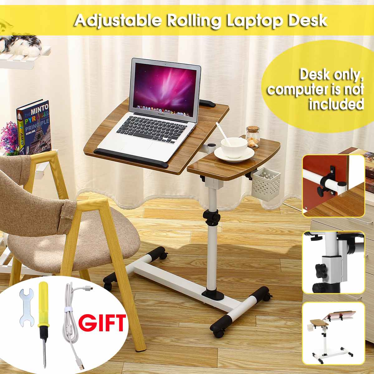 Adjustable Angle And Height Rolling Laptop Notebook Laptop Desk Stand Over Bed Sofa Table E1 Level Environmental Protection