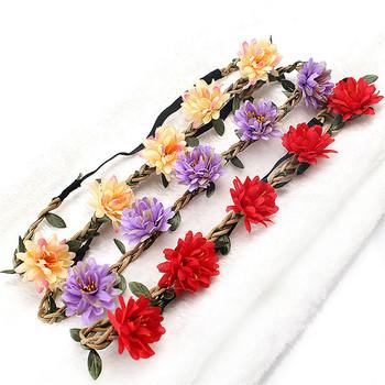 2021 gorąca sprzedaż sztuczny kwiat korona wianek pałąk Halo Garland chluba z wstążką festiwal wesele kobiet tanie i dobre opinie HAIMAITONG POLIESTER Cztery pory roku Tiaras Drukuj WOMEN Dla osób dorosłych moda Dekoracji Na imprezę CN (pochodzenie)