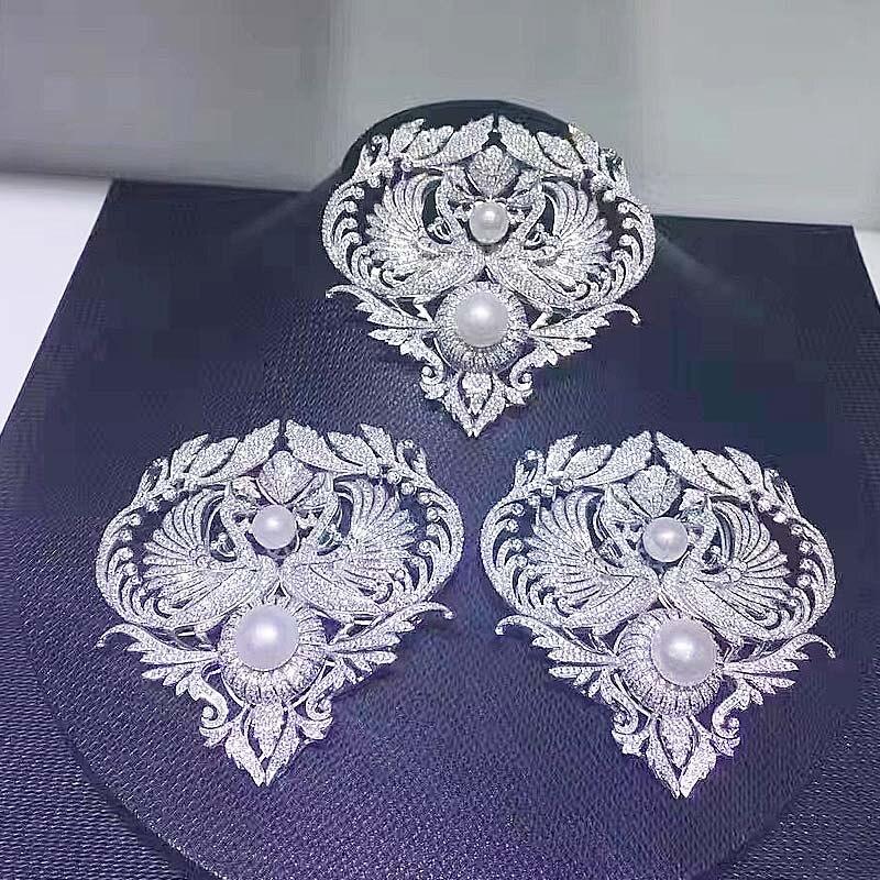 Двойное использование микроскоп Циркон Diy материалы двойной феникс кисточкой Кулон застежка длинный свитер цепь брошь с застежкой