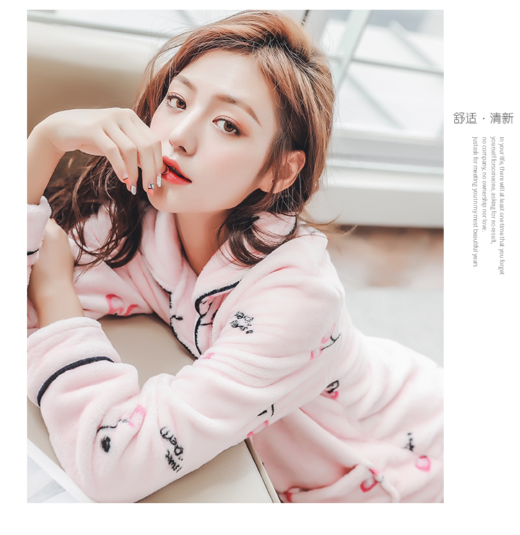 Plus Size 3XL 4XL 5XL Pyjamas women winter new Korean kawaii pink coral fleece warm pajama set thick flannel pijama home service 178