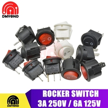 5PCS Small Round 2 Pin 3 Pin 2 Files With light 3A/250V 6A/125V AC Rocker Switch Seesaw Power Switch for Car Dashboard Toys 15MM 1pcs high quality universal ceiling fan lamp wall light replacement retro pull chain cord switch 3a 250v 6a 125v