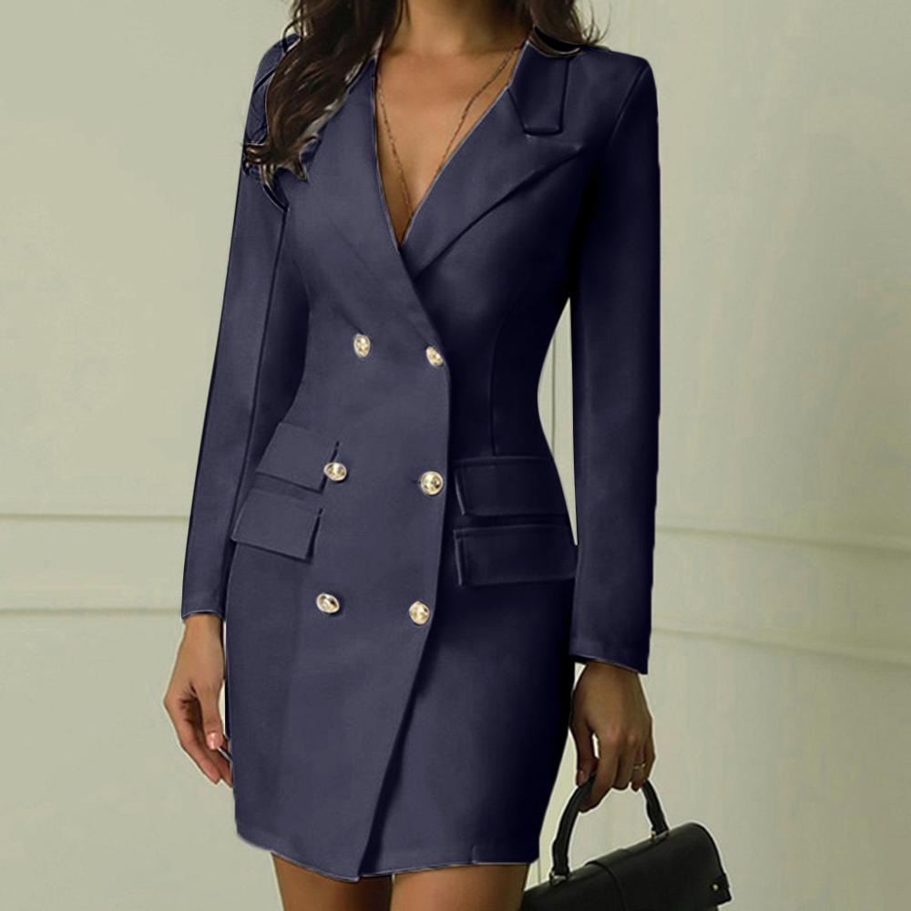Women Plus Size Office Winter Dress Women Elegant Turn Down Neck Long Sleeve Button Pocket Mini Dress Ladies Solid Blazer Dress