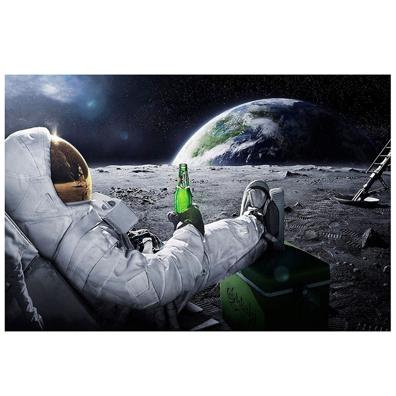 Astronaut Classic  Poster On The Moon Psychedelic Space Beer Living Room Decoration Paint By Numbers Canvas Art