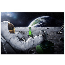 Astronaut Classic Poster On The Moon Psychedelic Space Beer Living Room Decoration Paint By Numbers Canvas Art(China)
