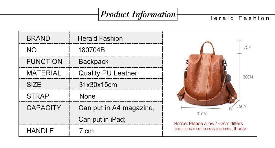 Hcfcb26b672d5497bb07c1e69f7e54bc6O HERALD FASHION Quality Leather Anti-thief Women Backpack Large Capacity Hair Ball School Bag for Teenager girls Male Travel Bags