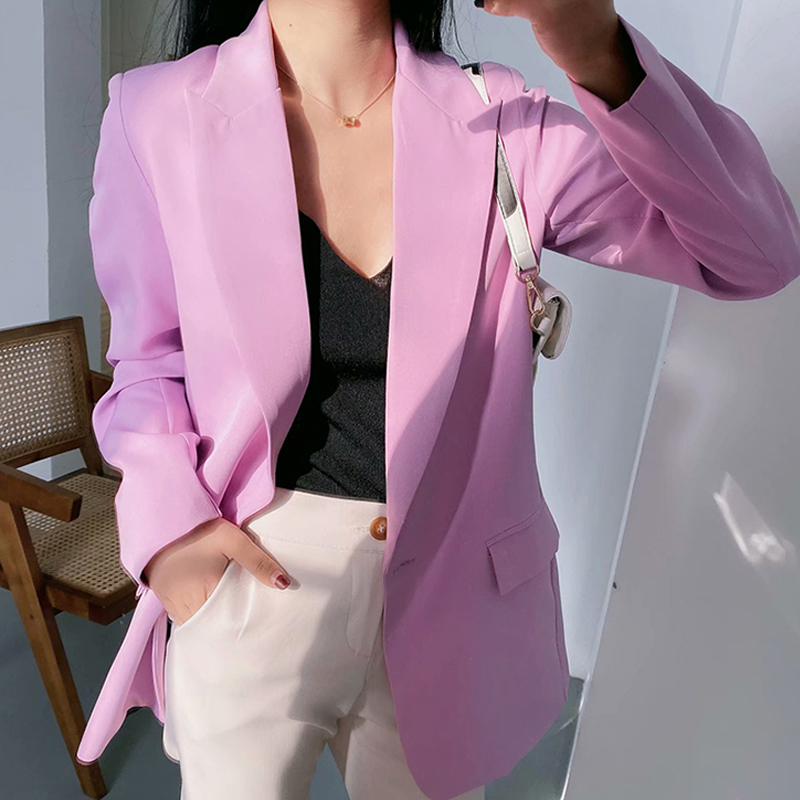2020 Spring Autumn Purple Blazers And Jackets Woman Fashion Pockets Solid Suit Coat Female Outwear Office Ladies Blazer Feminino