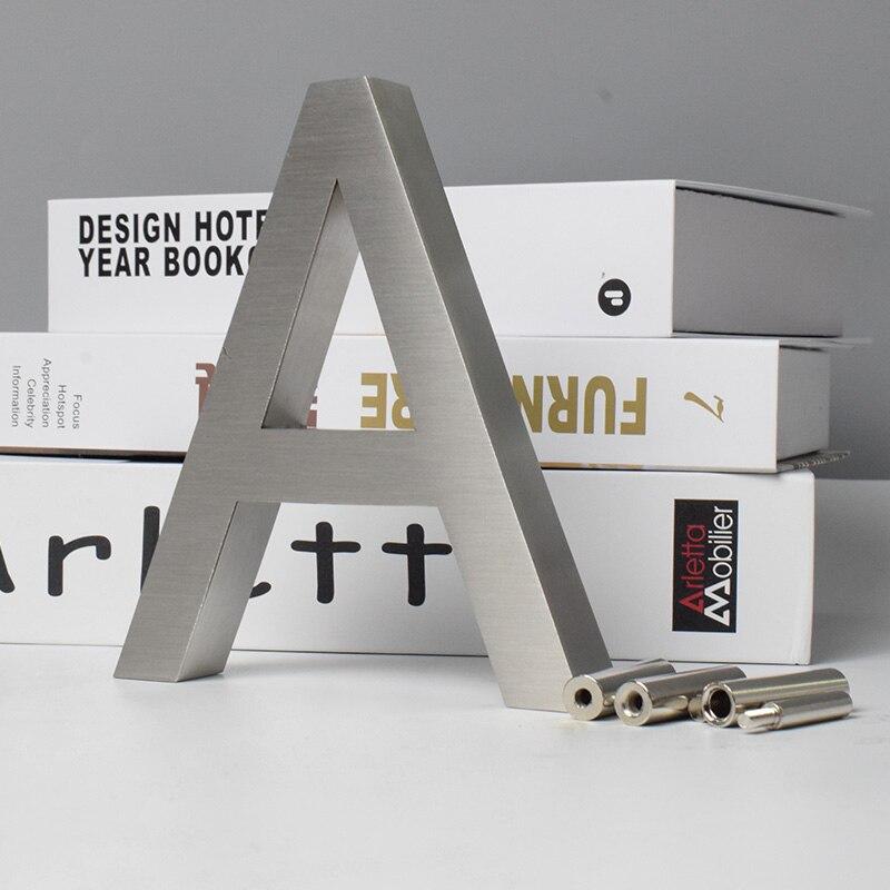 Номера дома 0-9 ABC открытый металлический 3D современный серебристый из нержавеющей стали Lettre знак адрес дома квартиры двери Знак имени пласт...