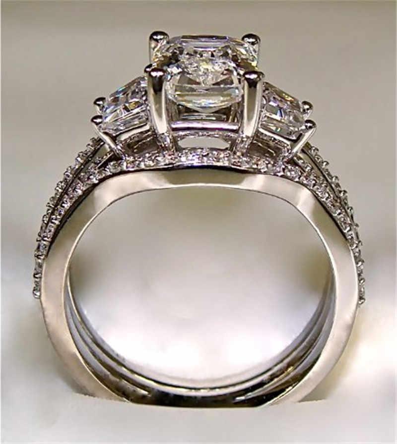 בציר 10K לבן זהב 3ct יהלומי מעבדה טבעת סטי 925 כסף סטרלינג קומפקטי אירוסין נישואים טבעות לנשים גברים תכשיטים
