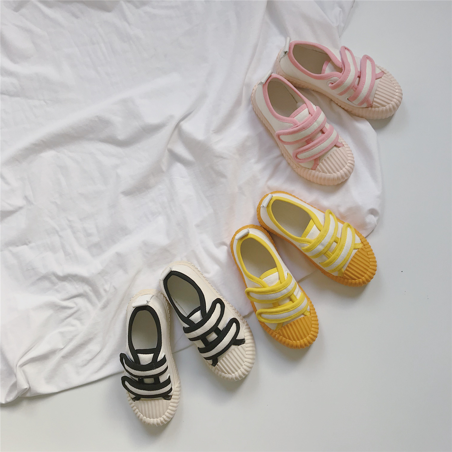 Korean Children Hit-and-break Magic Canvas Shoes Toddler Baby Anti-slip Shoes Kids All Matcheshoes Spliced Color Girls Shoes