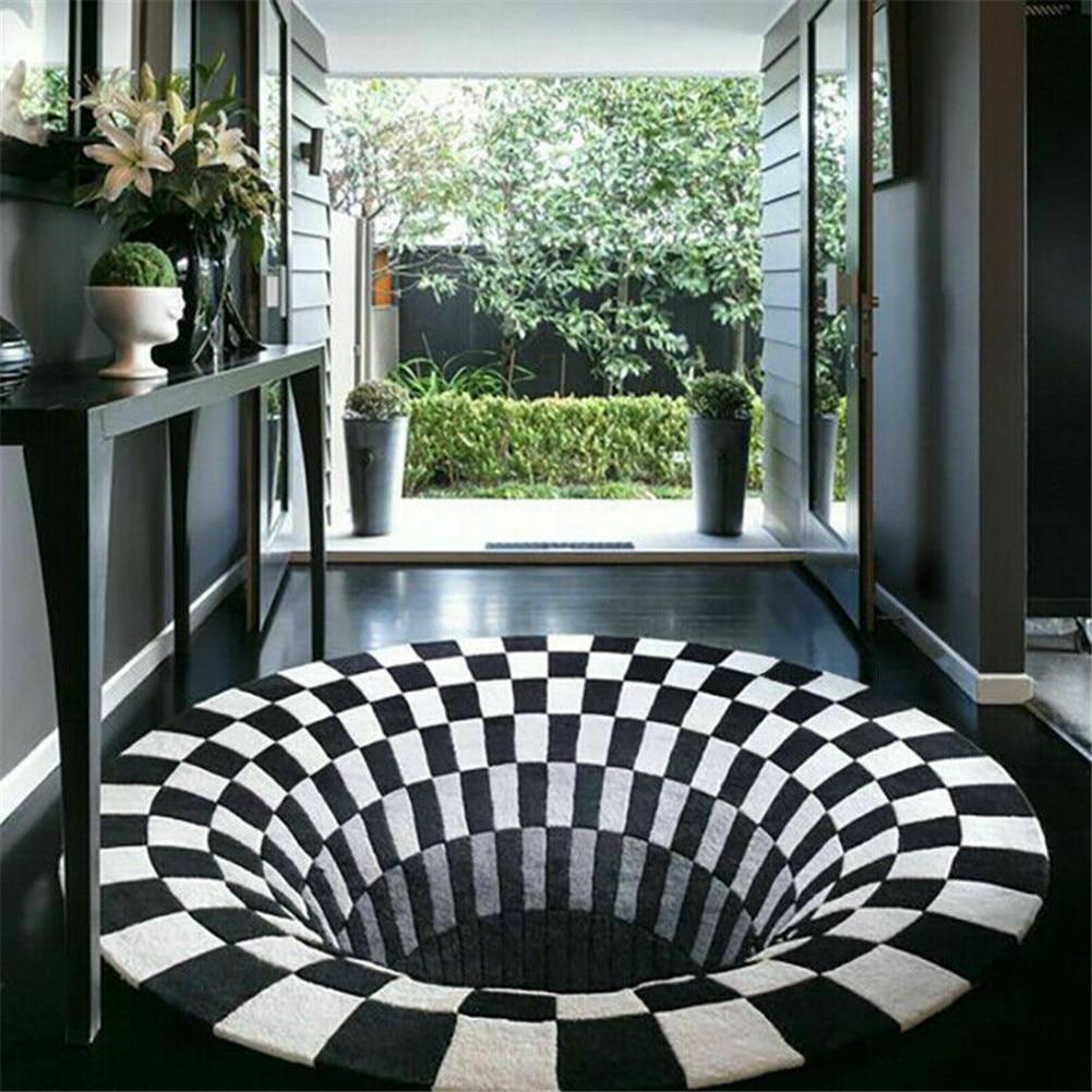3D Swirl Print Optical Illusion Rug Carpet Floor Pad Non-slip Doormat Mats Home Bedroom VJ-Drop