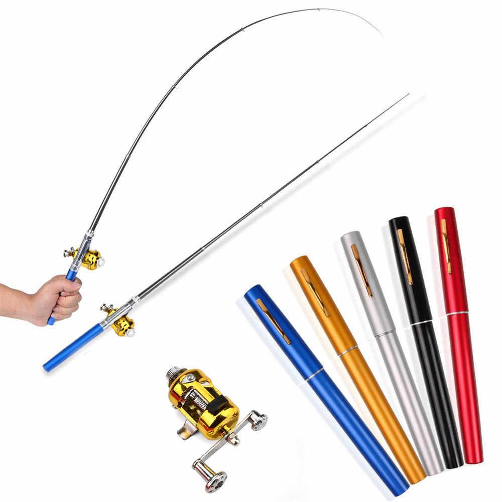 ポータブルポケットテレスコピックミニポールペン形状つ折り釣竿とリールハンドルドロップシッピング Z0815