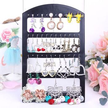 1pc Portable 48 Holes Clear Earrings Studs Display Rack Jewelry Organizer Stand Black Plastic  Holder Showcase Jewelry Box