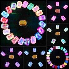 الذهب مخلب إعدادات 20 قطعة/الحزمة 13x18 مللي متر هلام الحلوى و AB اللون زجاج الكريستال شكل مستطيل خياطة على حجر الراين فستان الزفاف diy