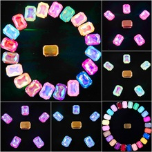 Gold claw settings 20pcs/pack 13x18mm jelly candy & AB color glass Crystal Rectangle shape Sew on rhinestone wedding dress diy